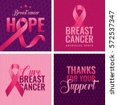 set of breast cancer awareness... | Shutterstock .eps vector #572537347