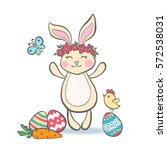 Cute Easter Bunny With Eggs ...