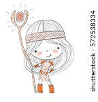 cute girl viking | Shutterstock .eps vector #572538334