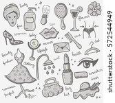 set of woman objects | Shutterstock .eps vector #572544949