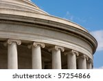 Detail of Classical Architecture of Jefferson Memorial in Washington D.C. - stock photo