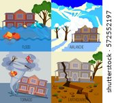 set of natural disasters... | Shutterstock .eps vector #572552197
