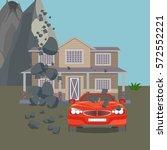 landslide realistic natural... | Shutterstock .eps vector #572552221