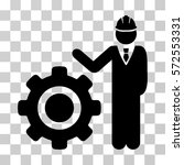 engineer with gear icon. vector ... | Shutterstock .eps vector #572553331