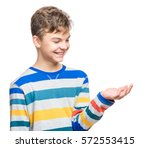 happy cute child reaching out... | Shutterstock . vector #572553415