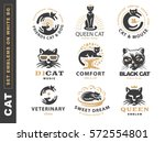 Stock vector set logo illustration with cat emblem design on white background 572554801