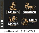 Stock vector lion logo set vector illustration emblem design on black background 572554921