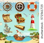 marine set. summer vacation  3d ... | Shutterstock .eps vector #572561725