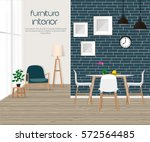 Furniture. Interior. Living room with sofa, table, lamp, pictures, window. The dining room and living room | Shutterstock vector #572564485