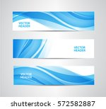 Stock vector vector set of abstract blue wavy headers water flow banners use for web site ad brochure flyer 572582887