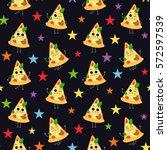 pizza slice  vector seamless... | Shutterstock .eps vector #572597539