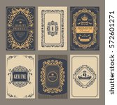 calligraphic vintage floral...   Shutterstock .eps vector #572601271