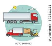 freight truck flat outline... | Shutterstock .eps vector #572611111