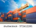 containers in the port of hong... | Shutterstock . vector #572612281