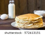 Fresh Homemade Stack Of Crepes...