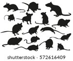 Vector Silhouette Mouse Rat...