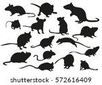 Vector Silhouette Mouse Rat...