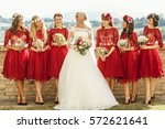 stunning blonde bride and... | Shutterstock . vector #572621641