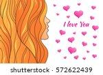 portrait of a woman in profile...   Shutterstock .eps vector #572622439