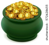 green pot full of gold coins.... | Shutterstock .eps vector #572628655