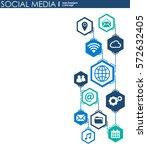 social media connection concept.... | Shutterstock .eps vector #572632405