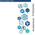 education network. hexagon... | Shutterstock .eps vector #572632441