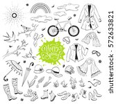 hand drawn spring objects set.... | Shutterstock .eps vector #572633821