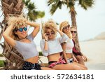 happy friends chatting and... | Shutterstock . vector #572634181