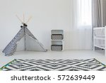 black and white baby room with... | Shutterstock . vector #572639449