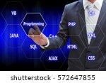 programmer hand touching... | Shutterstock . vector #572647855
