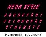 neon alphabet font | Shutterstock .eps vector #572650945