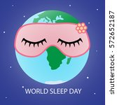 earth in a pink mask for sleep... | Shutterstock .eps vector #572652187