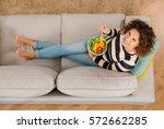 top view of a beautiful woman... | Shutterstock . vector #572662285