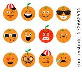 emojis. orange. fruit. summer.... | Shutterstock .eps vector #572662915