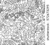 succulent seamless pattern... | Shutterstock .eps vector #572673295