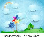 surreal landscape with... | Shutterstock .eps vector #572673325