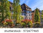 green street in the historic... | Shutterstock . vector #572677465