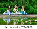 sitting beauty brides in blue... | Shutterstock . vector #57267853