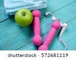 fitness equipment. healthy food ... | Shutterstock . vector #572681119