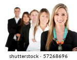 Group of business people in a row - isolated over a white background - stock photo