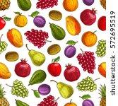 summer harvest fruits seamless... | Shutterstock .eps vector #572695519