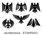 black heraldic eagle icons.... | Shutterstock .eps vector #572695621