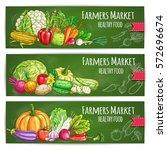 vegetables banners of farmer... | Shutterstock .eps vector #572696674