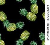 seamless watercolor fruit... | Shutterstock . vector #572705395
