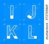 construction sketches of i j k... | Shutterstock .eps vector #572705869