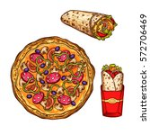 fast food sketch icons. vector...   Shutterstock .eps vector #572706469