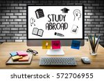 study abroad thoughtful male... | Shutterstock . vector #572706955