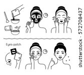 face skin care set with girl... | Shutterstock .eps vector #572708437