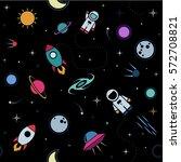vector flat space seamless... | Shutterstock .eps vector #572708821