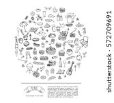 hand drawn doodle picnic icons... | Shutterstock .eps vector #572709691
